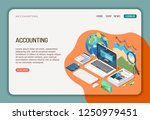 accounting isometric web page... | Shutterstock .eps vector #1250979451