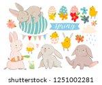 happy easter  various eggs ... | Shutterstock .eps vector #1251002281