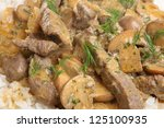 Beef stroganoff with boiled rice - stock photo