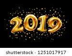 vector 2019. inflatable gold... | Shutterstock .eps vector #1251017917