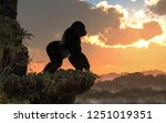 a silver back gorilla stands on ... | Shutterstock . vector #1251019351