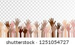 raised up hands of different... | Shutterstock .eps vector #1251054727