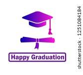 happy graduation icon | Shutterstock .eps vector #1251084184