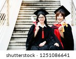 asian students wearing a... | Shutterstock . vector #1251086641