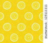Seamless pattern of yellow lemon slices - vector illustration