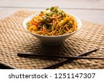 schezwan noodles or vegetable... | Shutterstock . vector #1251147307