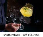 man holding an alcohol yellow... | Shutterstock . vector #1251163951