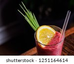 glass of berry smoothie... | Shutterstock . vector #1251164614