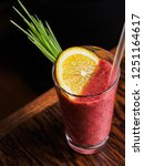 glass of berry smoothie... | Shutterstock . vector #1251164617