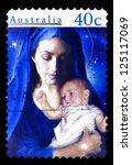australia   circa 1996  a stamp ... | Shutterstock . vector #125117069