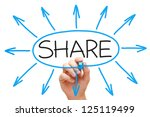 male hand drawing sharing... | Shutterstock . vector #125119499