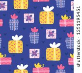 seamless christmas pattern.... | Shutterstock .eps vector #1251195451