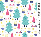 seamless christmas pattern.... | Shutterstock .eps vector #1251195484