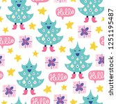 seamless christmas pattern.... | Shutterstock .eps vector #1251195487
