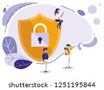 mini people and shield with... | Shutterstock .eps vector #1251195844