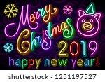 raster copy merry christmas... | Shutterstock . vector #1251197527
