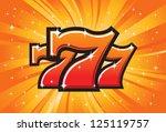 Stock vector triple lucky sevens burst vector illustration 125119757