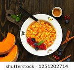 pudding with pumpkin and rice   Shutterstock . vector #1251202714