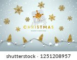 christmas postcard with vintage ... | Shutterstock .eps vector #1251208957