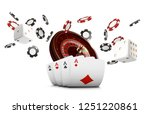 playing cards and poker chips... | Shutterstock . vector #1251220861