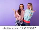 two girls with surprise face ... | Shutterstock . vector #1251279547