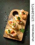 antipasti snacks for wine.... | Shutterstock . vector #1251284971