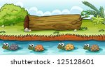 illustration of turtles in the... | Shutterstock .eps vector #125128601