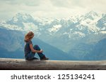 girl hiker  sitting  and... | Shutterstock . vector #125134241