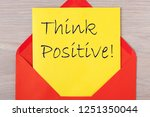 think positive document in red... | Shutterstock . vector #1251350044
