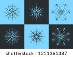 set of 6 isolated snowflakes....