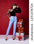 beautiful young pretty woman...   Shutterstock . vector #1251378724