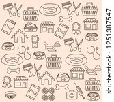 pets shop set icons pattern | Shutterstock .eps vector #1251387547