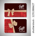 gift voucher card with ribbon... | Shutterstock .eps vector #1251388627