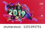 2019 new year music festival... | Shutterstock .eps vector #1251393751