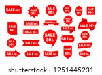 set of red sale icon banners in ... | Shutterstock .eps vector #1251445231
