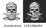 skull pirate sailor with swords.... | Shutterstock .eps vector #1251486694