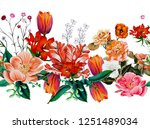 a floral pattern in repeat for... | Shutterstock . vector #1251489034