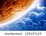 Religious background - good vs evil, heaven and hell - stock photo