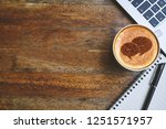 coffee mug with chat web icon ...   Shutterstock . vector #1251571957