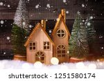 decorative houses and fur trees ... | Shutterstock . vector #1251580174