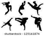 the set of dance silhouette | Shutterstock .eps vector #125161874
