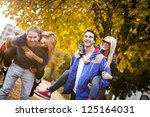 groups of friends in the park.... | Shutterstock . vector #125164031