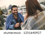 waist up of happy male with... | Shutterstock . vector #1251640927