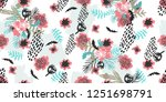 seamless flowers pattern with... | Shutterstock .eps vector #1251698791