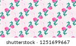 seamless flowers pattern with... | Shutterstock . vector #1251699667