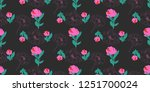 seamless flowers pattern with... | Shutterstock .eps vector #1251700024