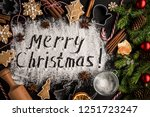 inscription merry christmas on...   Shutterstock . vector #1251723247