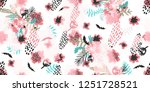 illustration with flowers and... | Shutterstock . vector #1251728521