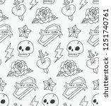 cute skull seamless pattern  | Shutterstock .eps vector #1251740761
