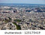 Aerial view of the Arc de Triomphe in Paris. - stock photo